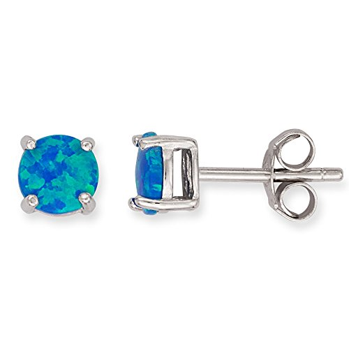 Sterling Silver 6mm Created Blue Opal Circle Stud (Created Opal Jewelry)