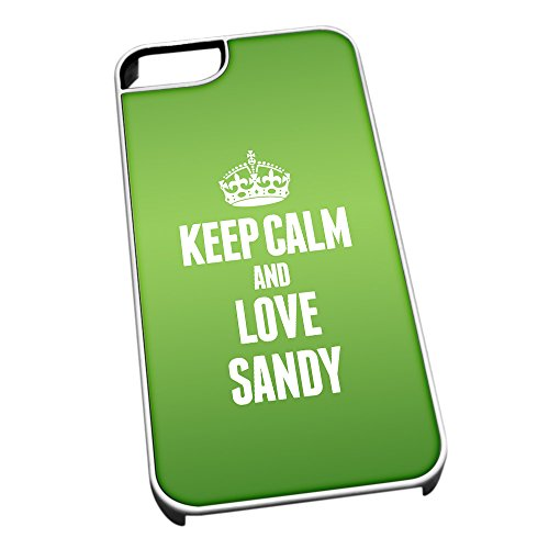 Bianco Cover per iPhone 5/5S Verde 0553 Keep Calm And Love Sandy