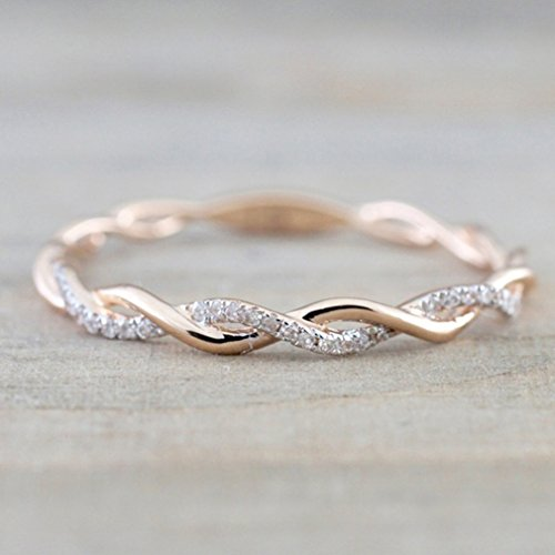 Dolland Twisted Half Eternity Anniversary Ring Zircon Diamond Engagement Promise Rings Love Wedding Jewelry Sets,Rose Gold,#8