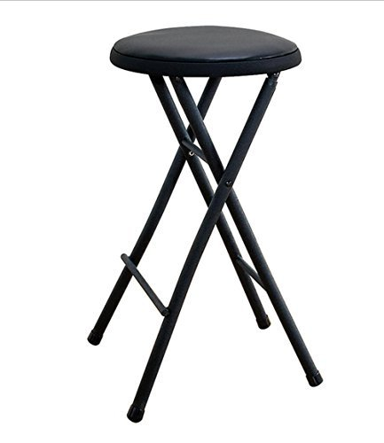 Black Folding Stool Chair 24'' Lightweight Home Office Stool for Kids Cushioned Seat Metal Frame Portable Convenience Quick Seat Anywhere by Essentials