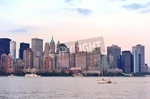 NEW YORK CITY MANHATTAN Downtown skyline at sunset over Hudson River Panorama (14597219), Póster, 60 x 40 cm