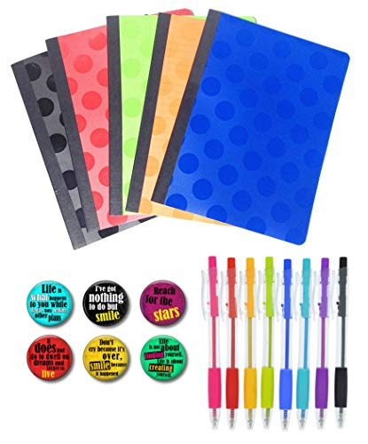 5 Colorful Composition Notebooks, 8 Pack Multi Colored Pens and Set of 6 Cute Locker Magnets for Boys or Girls (Primary Colors)