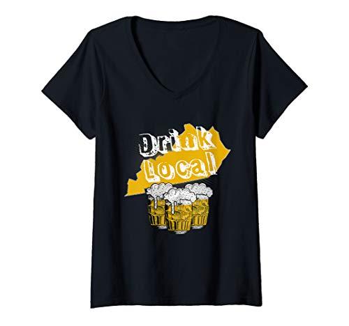 Womens Drink local craft beer Kentucky  V-Neck T-Shirt