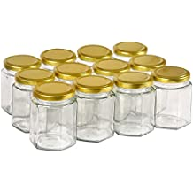 12 pack 6 oz Clear Glass Jam Jars for Jam,Honey,candies,sauce,Baby Foods,Jelly Wedding Favors,DIY Magnetic Spice Jars(Comes with gold lids)
