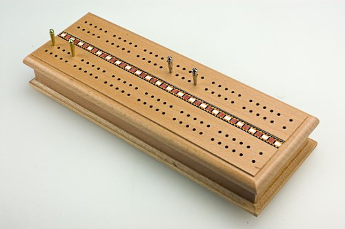 Sterling Games Wooden Deluxe Cribbage Box with Card - Cribbage Case
