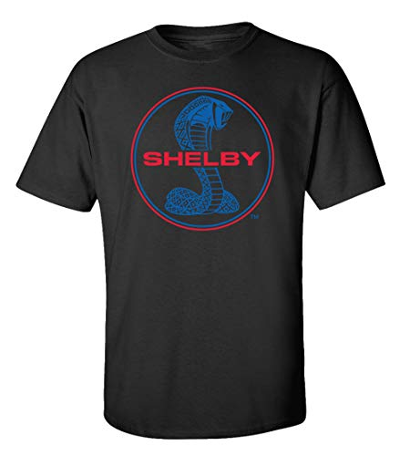 - Ford Shelby Cobra Blue & Red Circle Logo Car T-Shirt Adult Men's Short Sleeve-Black-Large