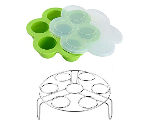 Egg Bites Molds for Instant Pot Accessories by ULEE - Fits Instant Pot 5/6/8 qt Pressure Cooker, Both the Tray and Lid Made of Silicone, Stainless Steel Egg Steam Rack Included (Green)