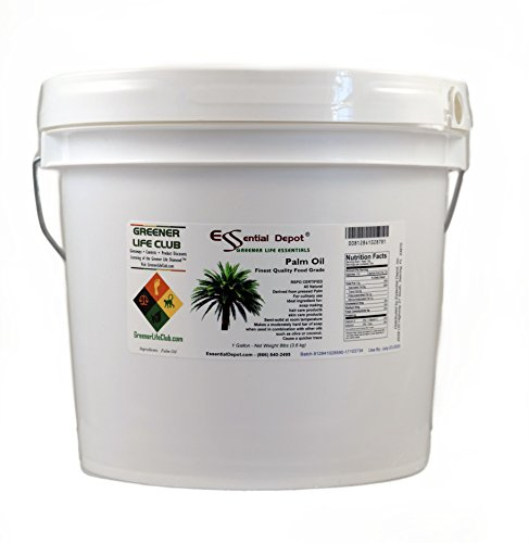 (ESSENTIAL DEPOT Palm Oil - RSPO Certified - Sustainable - Food Safe - Finest Quality - 8 lbs - in Pail - 1 Gallon)