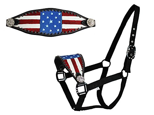 (Derby Originals Tahoe Tack Patriotic Hand-Painted American Flag Bronc Halter with Crystals )