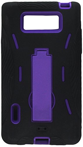 Aimo Wireless LGUS730PCMX014S Guerilla Armor Hybrid Case with Kickstand for LG Splendor/Venice S730 - Retail Packaging - Black/Purple