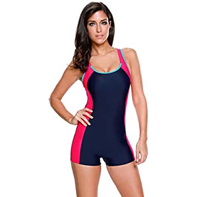 LookbookStore Women's Colorblock Racerback Cutout Racing One Piece Swimsuit