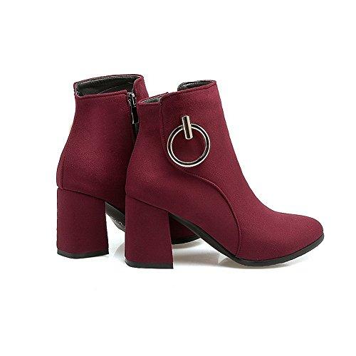 AdeeSu Womens Chunky Heels Pointed-Toe VelvetLining Microsuede Boots SXC02672 Claret 50V6yS6yqi