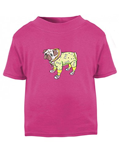 [Dog In Costume And Shoes Toddler Baby Kid T-Shirt Hot Pink Tee 6 Mo - 7T - 7T] (Hot Dog Baby Costumes)