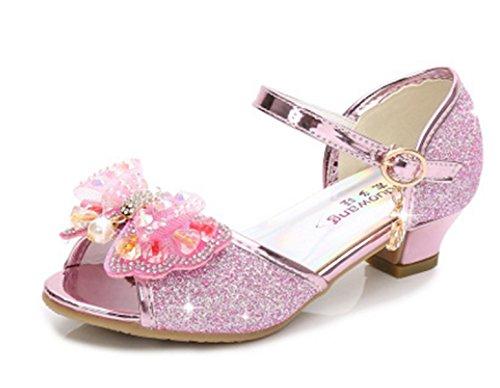YOGLY Sandalias de Niña Sandalias de Tacón Alto Niñas Zapatos Tacón Lentejuelas de Perlas Zapatos de Cristal de Fantasía Disfraz de Princesa Fiesta Cumpleaños Rosado