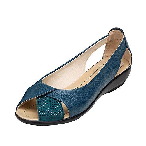 De Confortable Dame Tête Phorecys Sandales Bleu Plates Poisson Femme Ballerines Ete axpqzX
