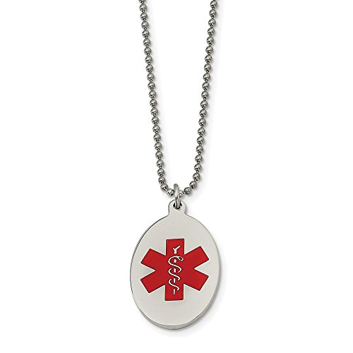 ICE CARATS Stainless Steel Red Enamel Oval Medical Alert Pendant 22 Inch Chain Necklace Charm Fashion Jewelry Gifts for Women for ()