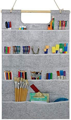 Felt Expressions Space Saving Hanging Wall Organizer for Mail, Tools, Office & School Supplies, Jewelry. 20 Pockets, Durable Felt & Stitching with Hanging Rope. Perfect for Kitchen, Office (Gray)