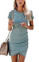 Summer Tshirt Dresses for Women Casual Ruched Irregular Bodycon Short Mini Dress