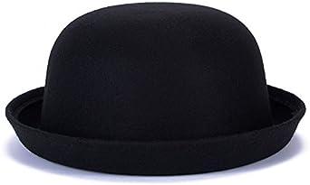 Magik Hombres Mujeres Lana Roll Up Brim Fedora Melon Derby Bow Kapot Hat