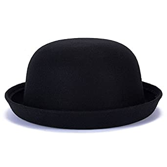 fcc6ab4a Magik Men Women Woolen Roll-up Brim Fedora Bowler Derby Bow Cloche Hat  (Black): Amazon.co.uk: Clothing