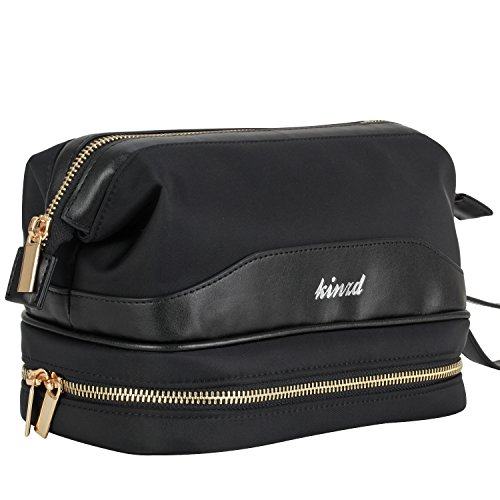 Bottom Double Layer - Kinzd Travel Cosmetic Bag for Women Portable Leather Toiletry Bag Hanging MakeUp Organizer Double Layer Multiple Compartments Waterproof (Black)