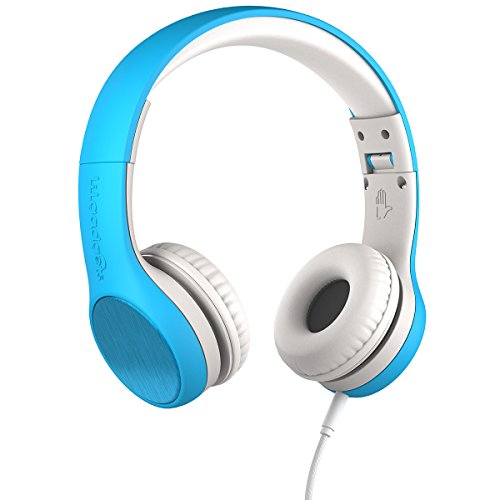 New! LilGadgets Connect+ STYLE Premium Volume Limited Wired Headphones with SharePort for Children/Kids (Blue)