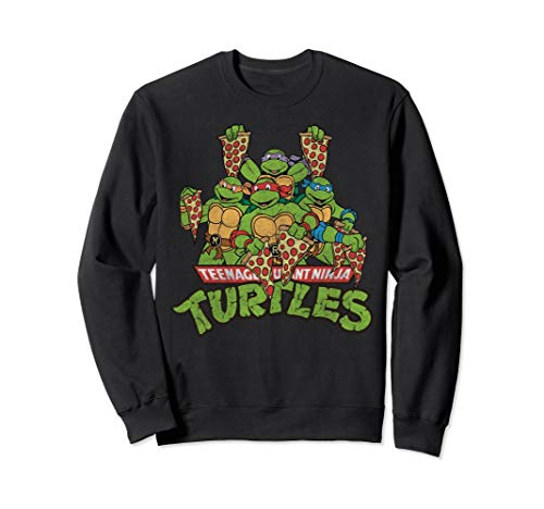 Retro TMNT Characters With Pizza Slices Sweatshirt