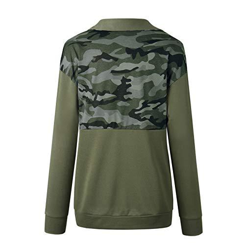 Contraste Verde T Playera Delantera De Tee Top Manga Alto Bloque Cremallera  Camo Color Pullover Sweatshirt shirt ... dfb1bdc91d39