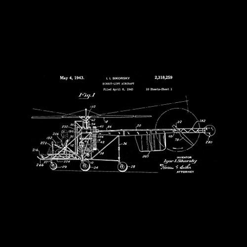 Patent Black Sikorsky Hooded I Coto7 Blueprint Sweatshirt Helicopter Women's pnxxfO5Sz