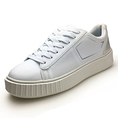 XiaoYouYu PU Leather Fashion Sneakers Women Platform Design Lace up Running Shoes AAX002 White, 6.5 B(M) US by XiaoYouYu