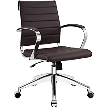 Modway Jive Ribbed Mid Back Executive Office Chair With Arms In Brown