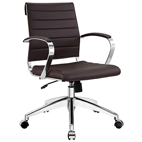 Modway Jive Ribbed Mid Back Executive Office Chair With Arms In - Arm Chairs Aluminum