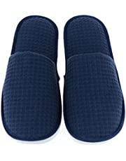 Luxehome Set of 5 Closed Toe Waffle Spa Slippers Include 2 Different Sizes and Colors