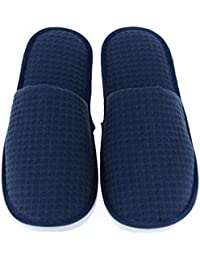 Set of 5 Closed Toe Waffle Spa Slippers Include 2 Different Sizes and Colors