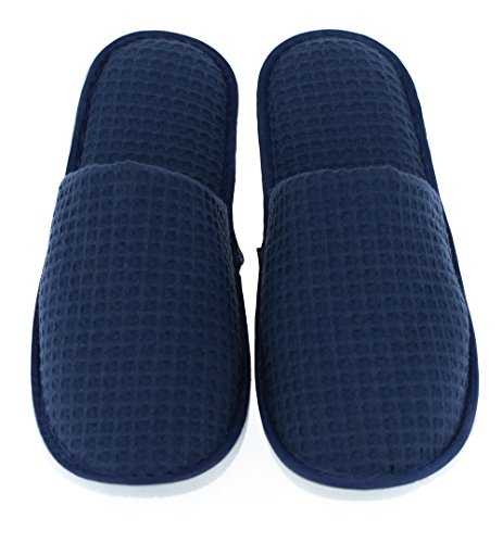 Luxehome Set of 5 Closed Toe Waffle Spa Slippers Include 2 Different Sizes and Colors (Waffle Toe)