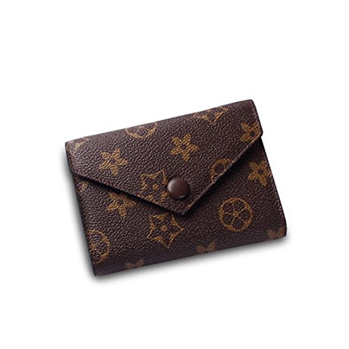 SUNNY Famous Brand Womens Monogram Canvas Wallet on Sale Mini Credit Card Case Flower Designer Purse Card Holder (brown)