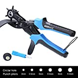 #6: WoneNice Revolving Leather Hole Punches -2 Years Warranty -Professional Heavy Duty Belt Hole Puncher Tool - Easily Punches Perfect Round Holes in 2.0 mm- 4.5 mm
