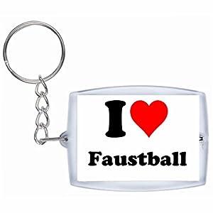 EXKLUSIV bei uns: Schlüsselanhänger I Love Faustball in Weiß, eine tolle...
