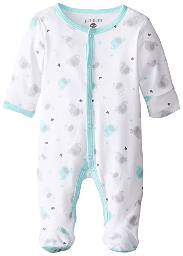 Petit Lem Baby-Boys Newborn White Elephant Footed Sleeper, A Elephant, Newborn