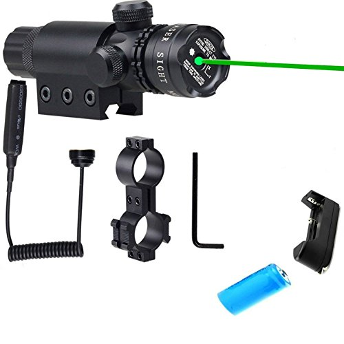 Green Illuminated 532nm Laser Sight Hunting Rifle Mil Dot Scope with On/off Swith Military Pistol Holographic Picatinny/weaver Mounts Barrel Battery Charger Include