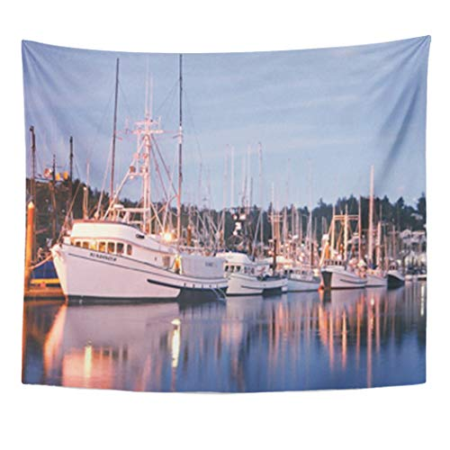 Newport Ceiling Light - Semtomn Tapestry Artwork Wall Hanging Fish Harbor Lights Fishing Boats Newport Oregon 50x60 Inches Home Decor Tapestries Mattress Tablecloth Curtain Print