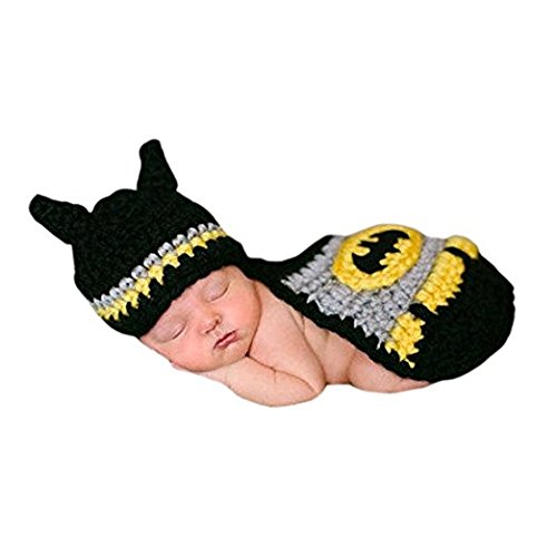 Eyourhappy Handmade Knitted Crochet Hat Costume Newborn Baby Photograph Props Set (Batman Outfits)