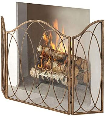 YYR 3パネル錬鉄暖炉スクリーン、屋外メタル装飾メッシュカバー、ソリッド赤ちゃん安全な暖炉フェンススチールスパークガード
