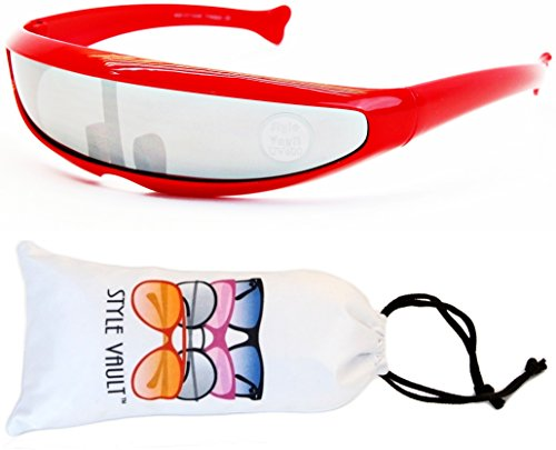 [V160-vp Style Vault Robot Space Party Sunglasses (B1655F Red-Silver Mirror, mirrored)] (Robocop Halloween Costume)