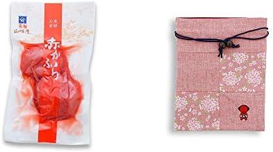 [2点セット] 飛騨山味屋 赤かぶら【小】(140g)・おねがいさるぼぼ 巾着【ピンク】