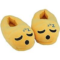 Cute Sleepy Emoji Sleep Slippers Plush Cotton Soft Warm Comfortable Indoor Bedroom Shoe For Big Kids & Women With Non…