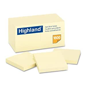 Highland Notes, 3 x 3-Inches, Yellow, 18-Pads/Pack