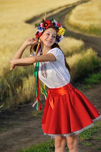 Dance folk costume Ukrainian traditional wear red circle skirt white blouse folk Ukraine dress
