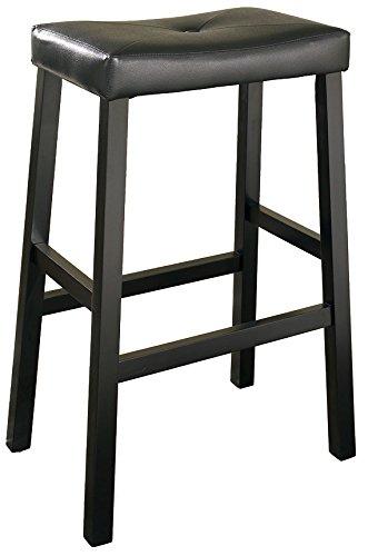 Crosley Furniture Upholstered Saddle Seat 29-inch Bar Stool - Black (Set of (Two Upholstered Stools)