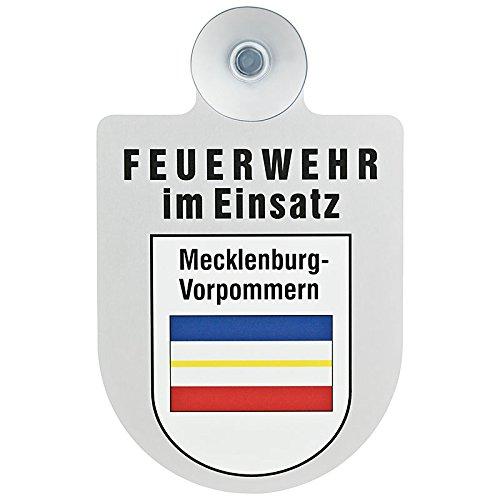 Feuerwehr im Einsatz KFZ Aluschild mit Saugnapf und Bundesland Wappen Brandenburg